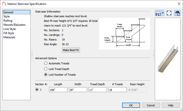 Specifying 18 treads for the staircase in the Interior Staircase Specification dialog