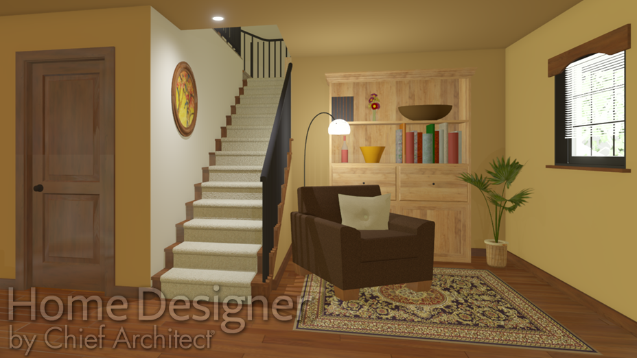 Staircase in a lower living area/den