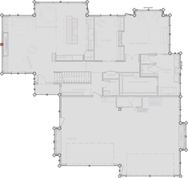 Polyline created from the structure's exterior room