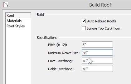 "Build Roof dialog showing 36"" entered for Minimum Alcove Size on Roof panel"