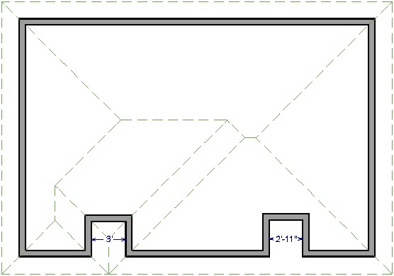 Floor plan view of building showing roof planes that differ over the two different alcoves