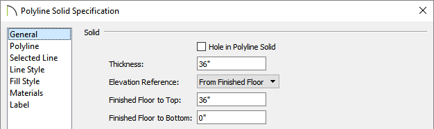 Modify the Thickness and Finished Floor to Top/Bottom values to your liking