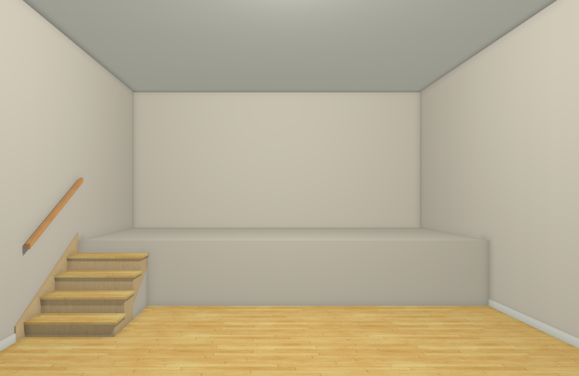 Camera view of a stage created using a Polyline Solid
