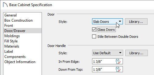 Adding slab glass doors to a base cabinet in the door/drawer dialog