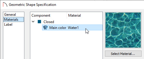 Specifying a Water material for the closed shape