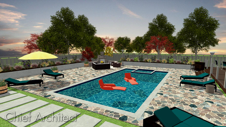Camera view of an outdoor swimming pool