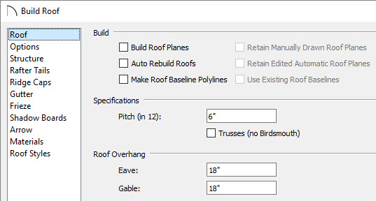 Setting roof properties such as the Pitch on the Roof panel of the Build Roof dialog