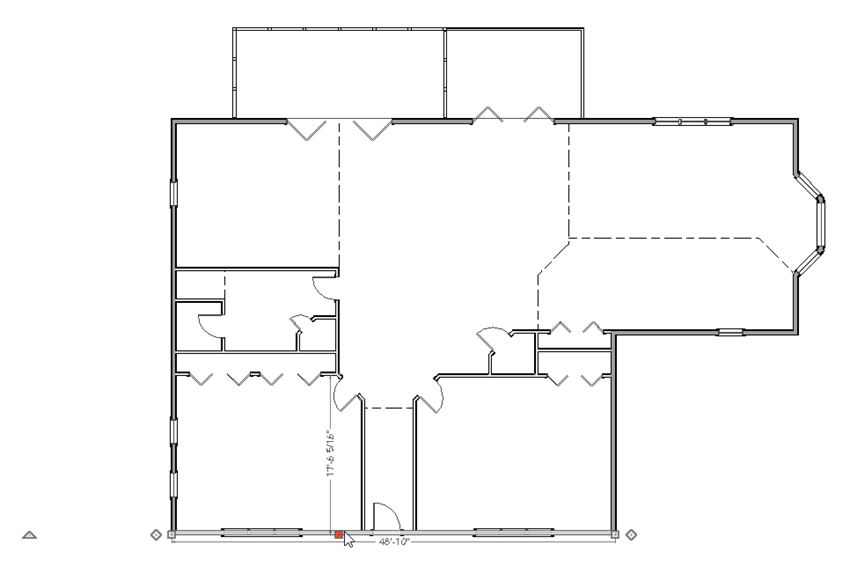 Floor plan with one wall selected