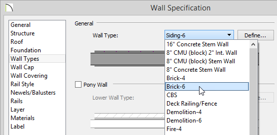 Wall Specification dialog with the Wall Type drop-down list showing several wall types with Brick-6 highlighted