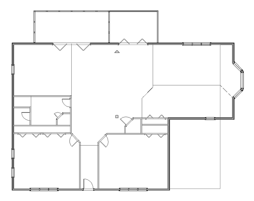 Floor plan with multiple interior walls selected