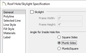 Roof hole skylight specification dialog