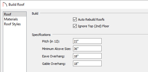 Setting the pitch and ignoring the second floor in the build roof dialog