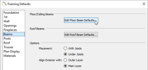 Selecting the Edit Floor Beam Defaults button located on the Beams panel of the Framing Defaults dialog