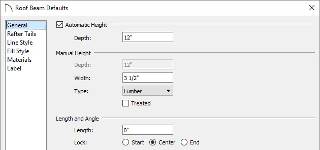 Adjust beam properties such as Depth, Width, and Type in the Beam Defaults dialog