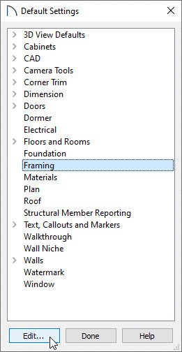 Select the Framing default category and select Edit