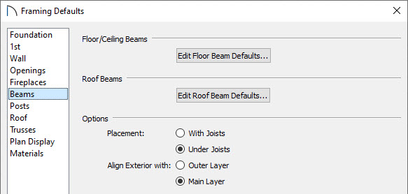 Select the Beams panel in the Framing Defaults dialog to modify the beam defaults