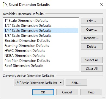 "Saved Dimension Defaults dialog with 1/4"" Scale Dimension Defaults selected"