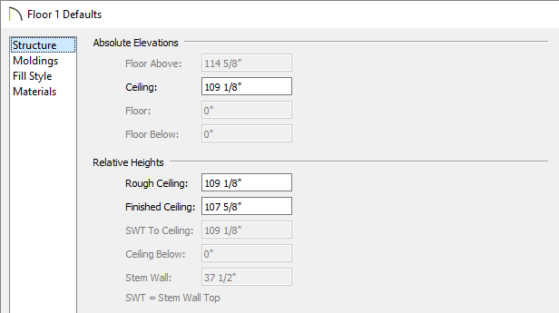 Floor 1 Defaults dialog where ceiling and floor heights can be changed