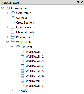 Navigating to wall details through the project browser window
