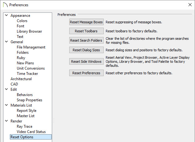 Reset options panel located in Preferences