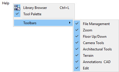 Open the contextual menu where individual toolbars can be toggled by right-clicking next to the Help menu option