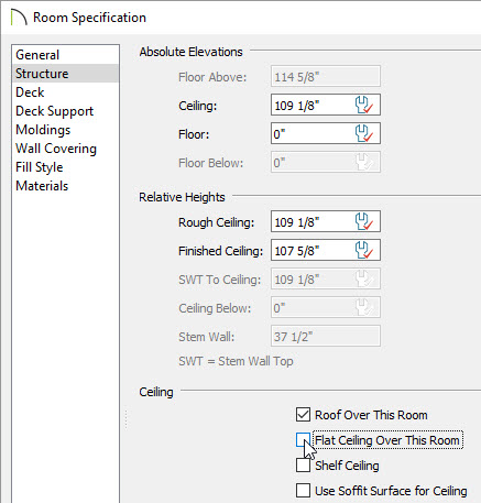 Flat ceiling option in room specification dialog