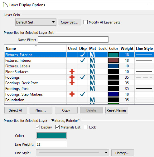 Layer display color and line options