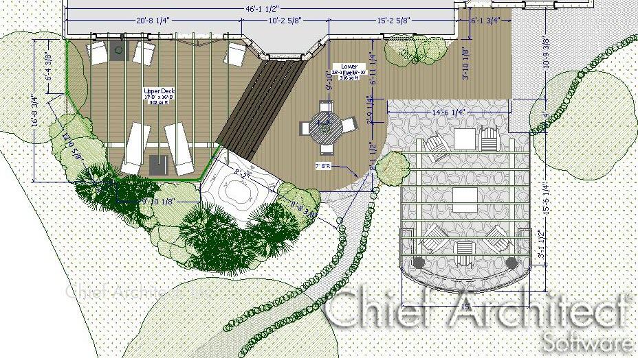 2D top down floor plan view showing terrain and deck