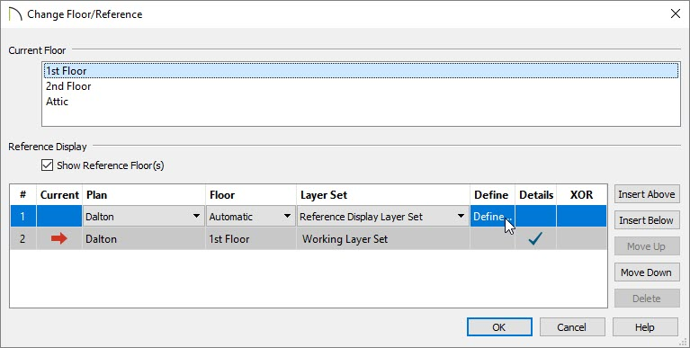 Click on the Define option in the Define column located in the Change Floor/Reference dialog