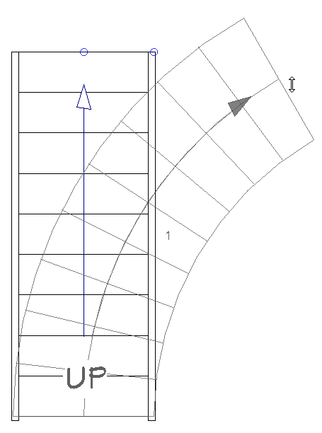 Curving a straight staircase