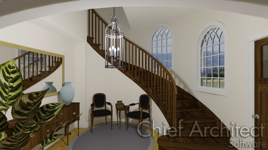 Curved staircase in entryway
