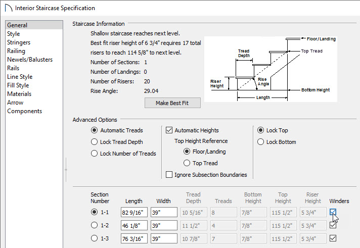 Winder checkboxes in the staircase specification dialog box