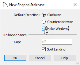 Select the Make Winders button to get winders instead of one flat landing