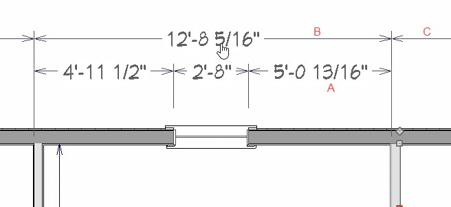 With a wall selected the labeled dimensions are the editable ones.