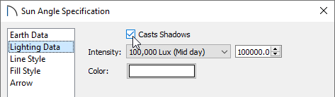Ensure that the Casts Shadows box is checked on the Lighting Data panel of the Sun Angle Specification dialog