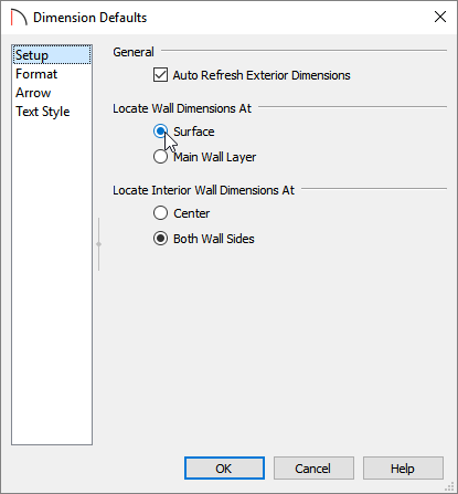 Setup panel of the Dimension Defaults dialog