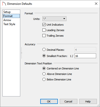 Format panel of the Dimension Defaults dialog