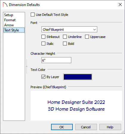 Text Style panel of the Dimension Defaults dialog