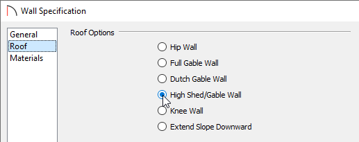 Specify the wall to be a High Shed/Gable Wall on the Roof panel