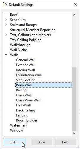 Pony Wall option selected in the Default Settings dialog