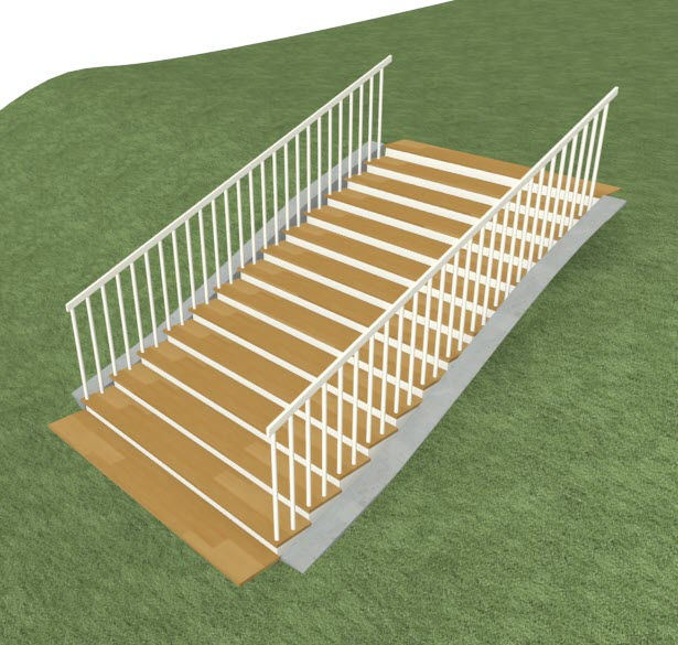 Camera view of a stair section in sloped terrain