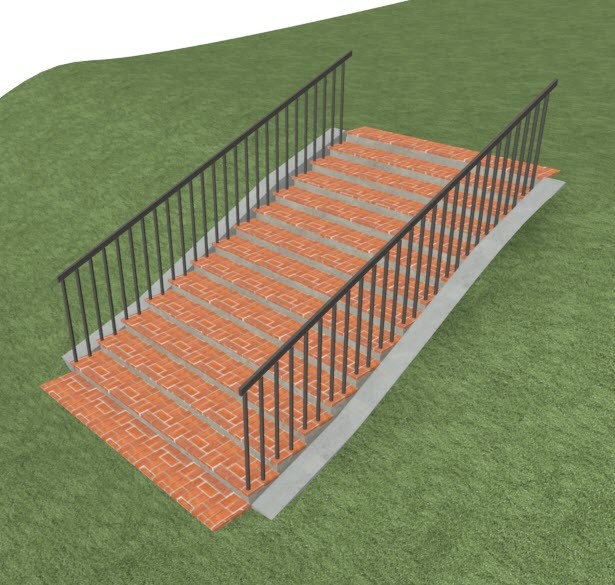 Materials applied to stair using the Material Painter