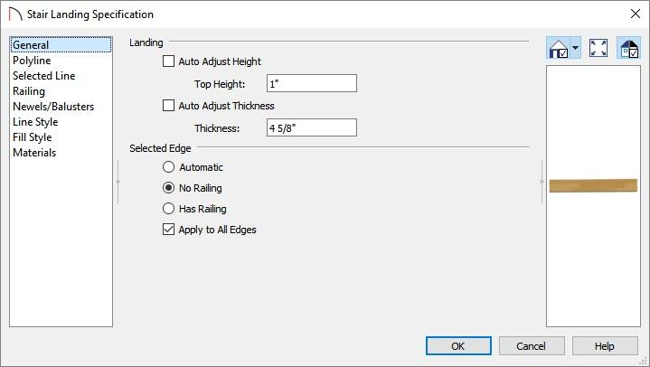 Adjust landing properties in the Stair Landing Specification dialog