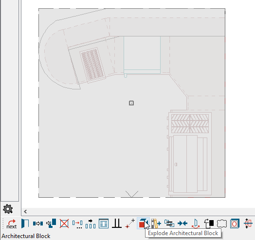 L-Shaped Kitchen Architectural Block selected with Explode Architectural Block button selected on Edit Toolbar