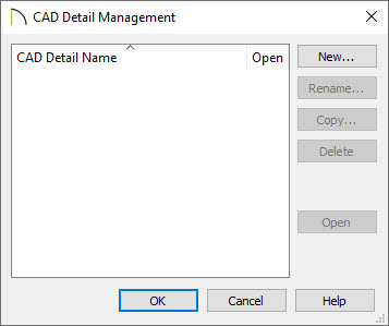 Create a New CAD Detail in the CAD Detail Management dialog box.