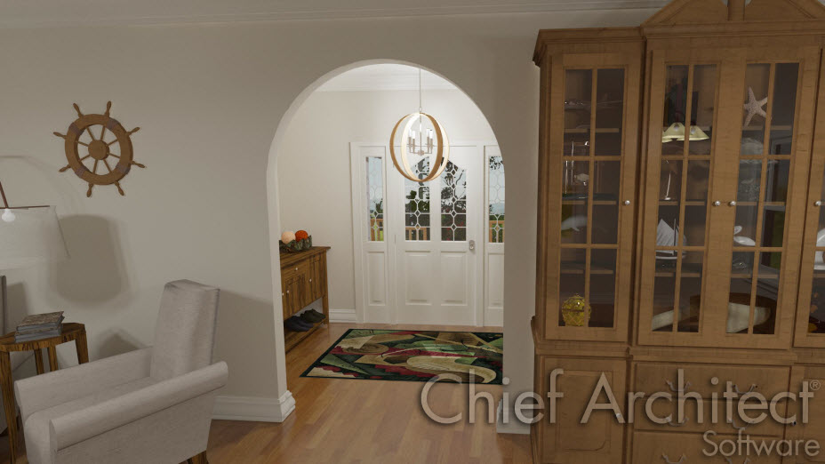 Interior rounded doorway with room base molding