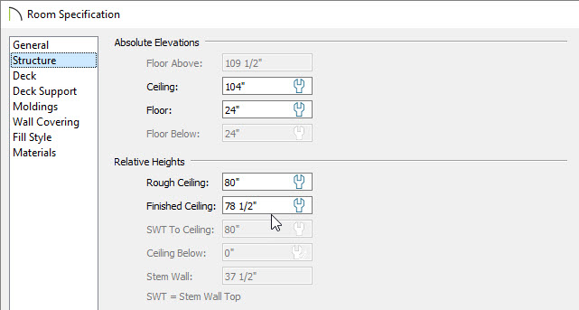 Changing finished ceiling height in the room specification dialog