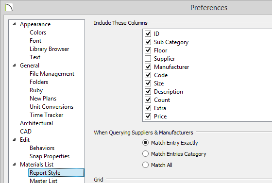 Report Style panel of Preferences showing columns to include on report