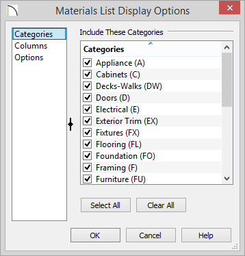Categories panel of Materials List Display Options showing categories to include on report