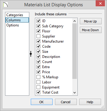 Columns panel of Materials List Display Options showing columns to include on report